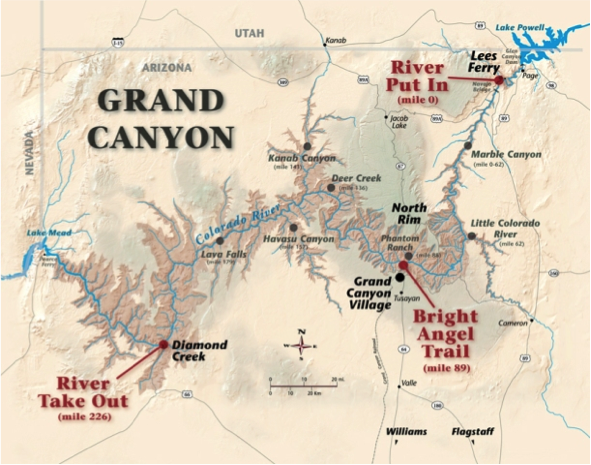 Map of the canyon (taken from https://azraft.com/grand-canyon-trips/length-options/)